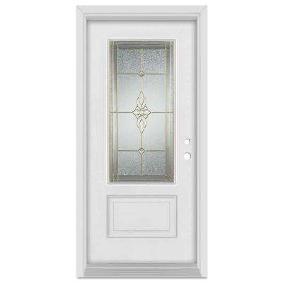 33.375 in. x 83 in. Victoria Left-Hand Brass Finished Fiberglass Mahogany Woodgrain Prehung Front Door Brickmould