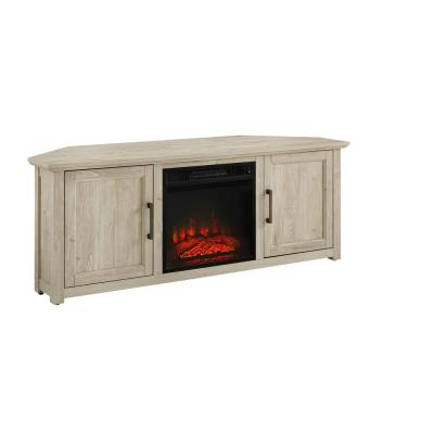Camden Frosted Oak 58 in. Corner TV Stand with Fireplace Fits 60 in. TV with Cable Management