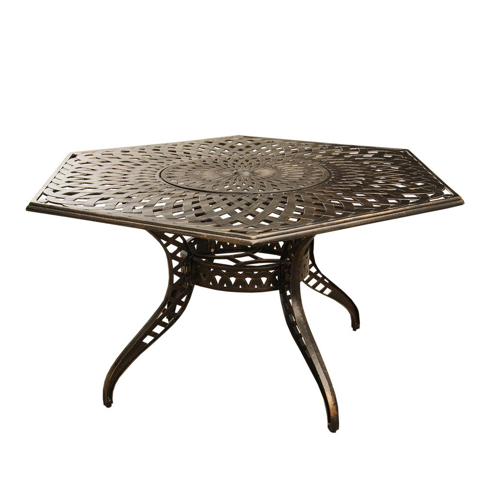 Magnificent Contemporary Modern 63 In Hexagon Aluminum Outdoor Dining Table Mesh Lattice In Bronze With Lazy Susan Pabps2019 Chair Design Images Pabps2019Com