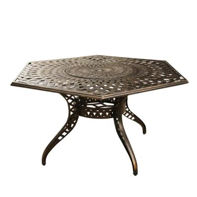 Contemporary Modern 63 in. Hexagon Aluminum Outdoor Dining Table Mesh Lattice in Bronze with Lazy Susan