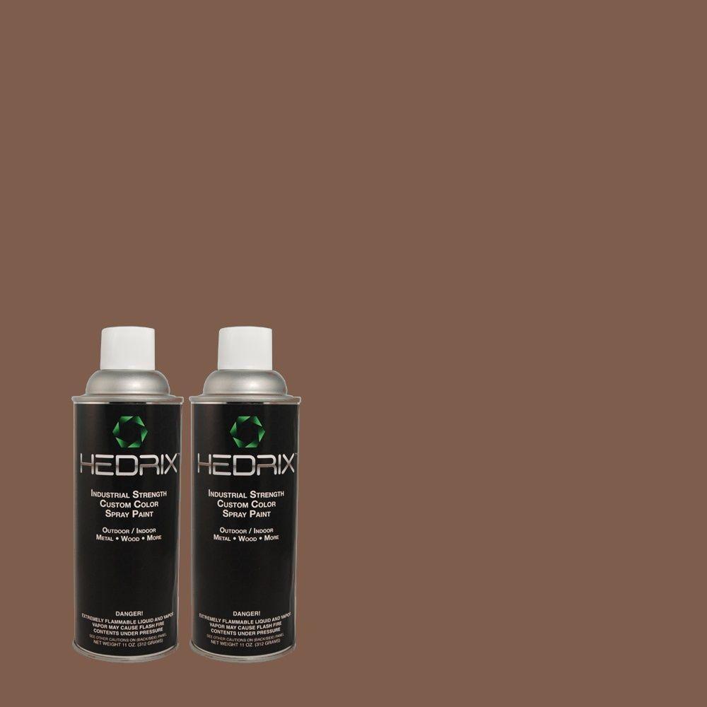 Hedrix 11 oz. Match of MQ1-42 Briar Wood Flat Custom Spray Paint (2-Pack)