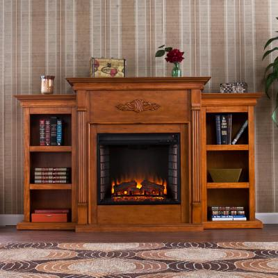 Greenfield 70.25 in. W Electric Fireplace with Bookcases in Glazed Pine