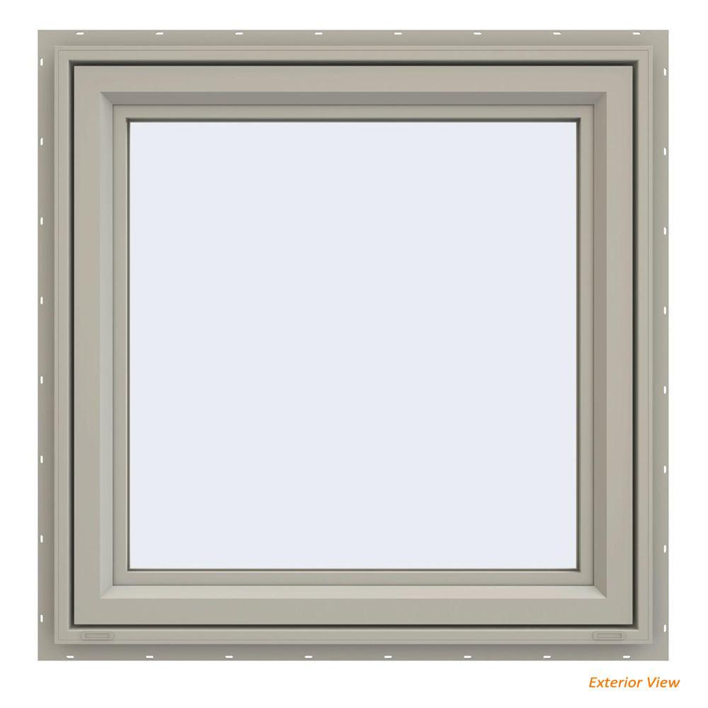 35.5 in. x 35.5 in. V-4500 Series Desert Sand Painted Vinyl Right-Handed Casement Window with Fiberglass Mesh Screen