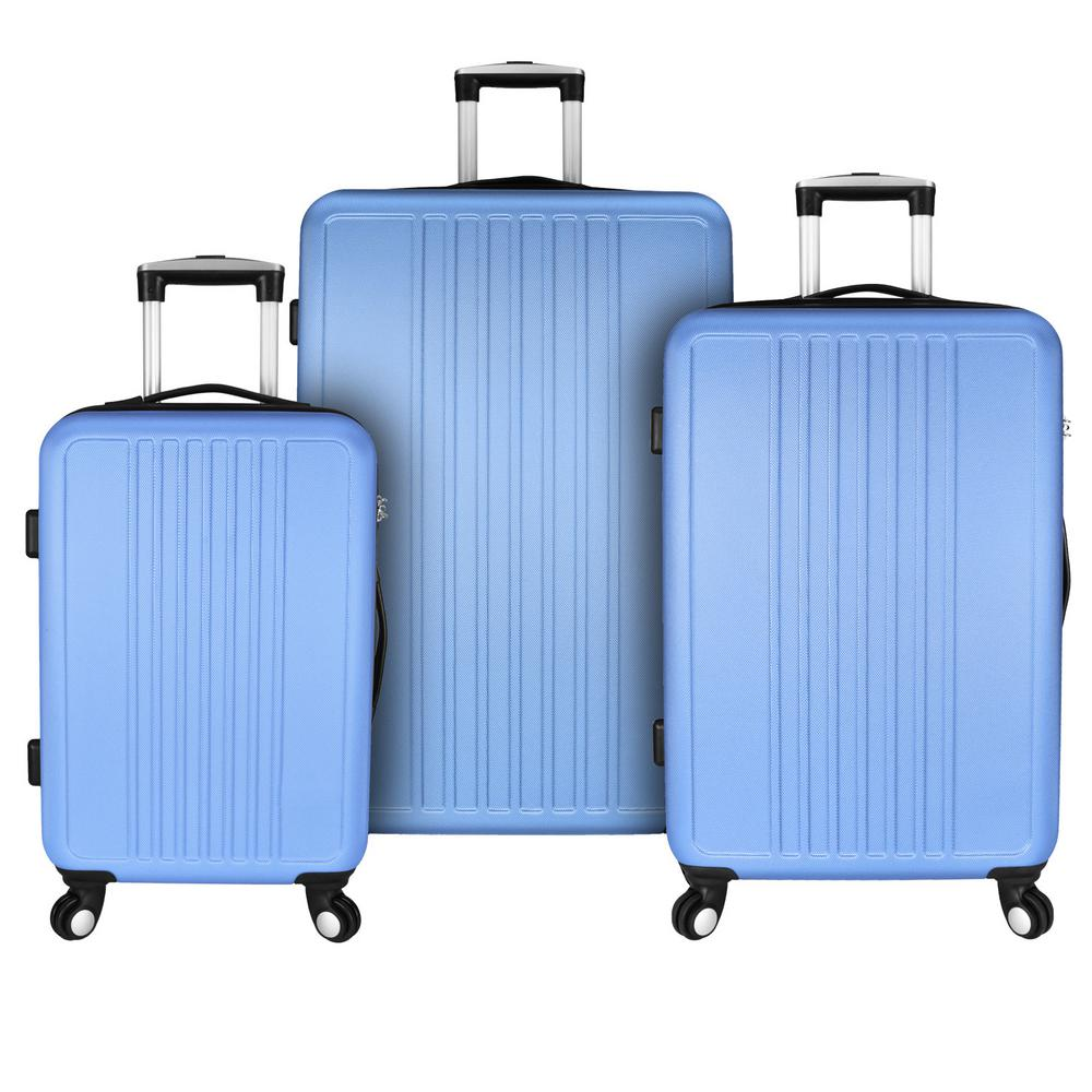 Versatile 3-Piece Hardside Spinner Luggage Set, Light Blue