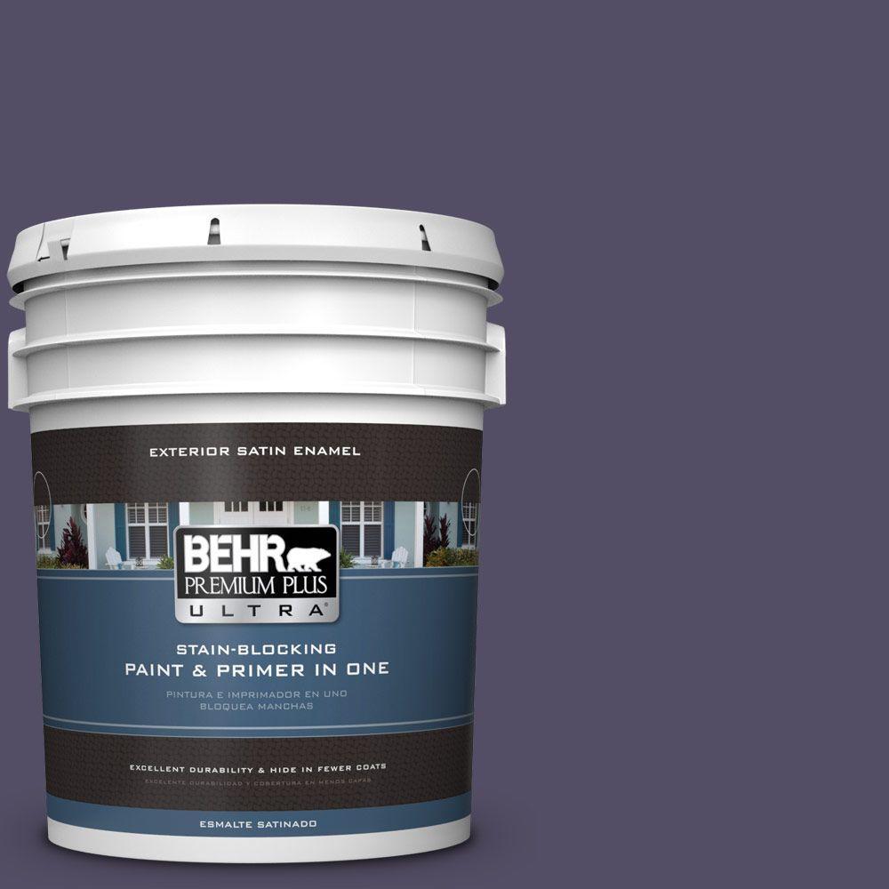 BEHR Premium Plus Ultra 5-gal. #650F-7 Violet Eclipse Satin Enamel Exterior Paint