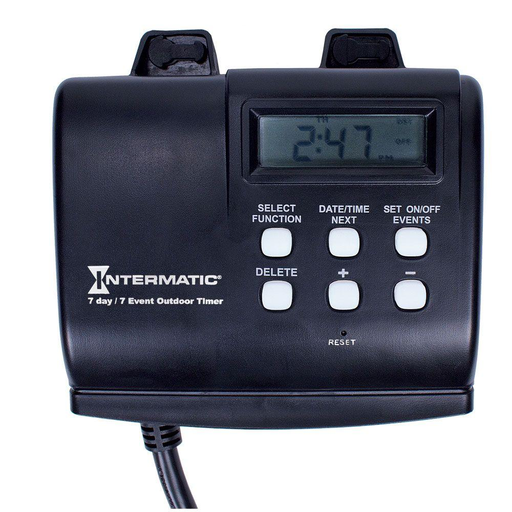 intermatic 15 amp 7 day outdoor digital plug in timer black - Christmas Light Timers