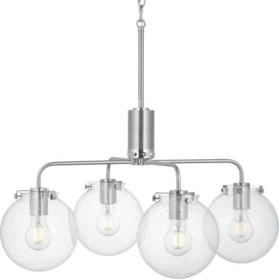Progress Lighting Berea 4-Light Brushed Nickel Chandelier with Clear Seeded Glass Shades