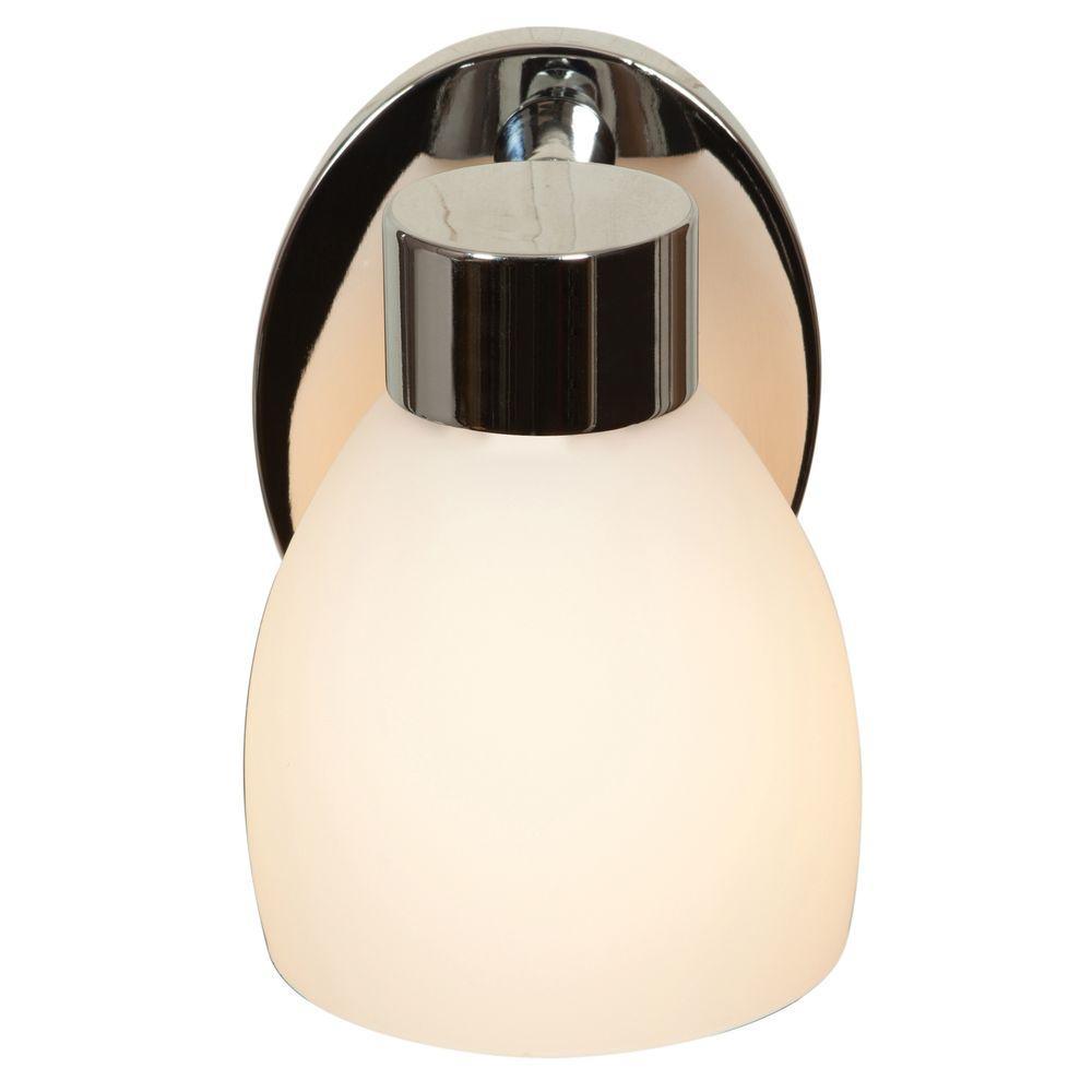 Frisco 1-Light Chrome Vanity Light with Opal Glass Shade