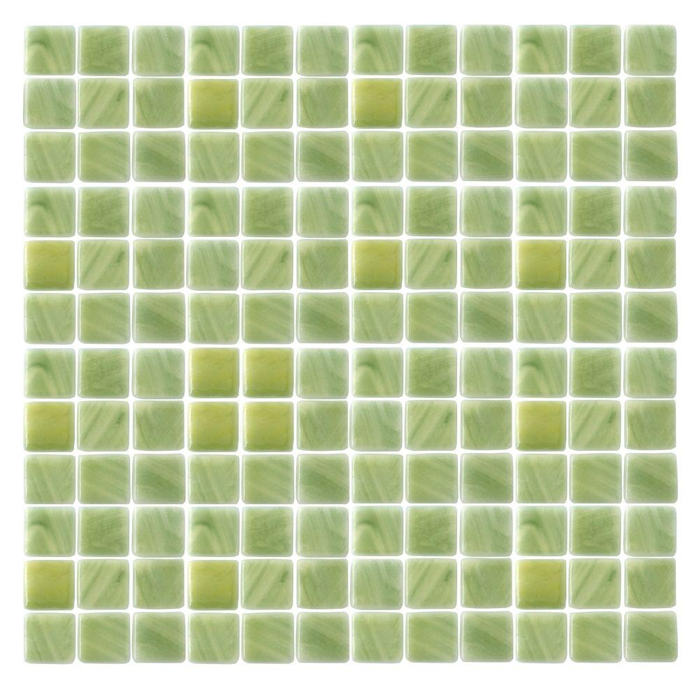 Epoch Architectural Surfaces Spongez S-Green-1406 Mosaic Recycled Glass 12 in. x 12 in. Mesh Mounted Floor & Wall Tile (5 Sq. Ft./Case)-DISCONTINUED