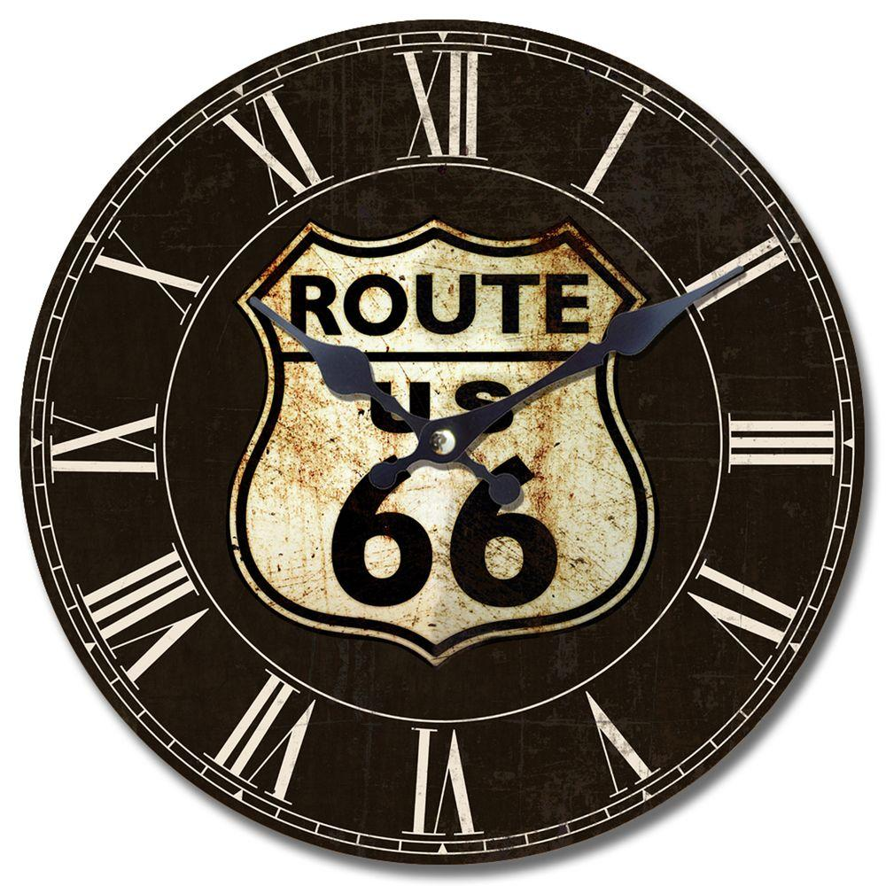 Yosemite Home Decor 13.5 in. Circular Wooden Wall Clock with Route 66 Print