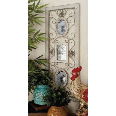 36 in. x 13 in. Wooden White Wall Panel with Photo Frames and Iron Scrollwork
