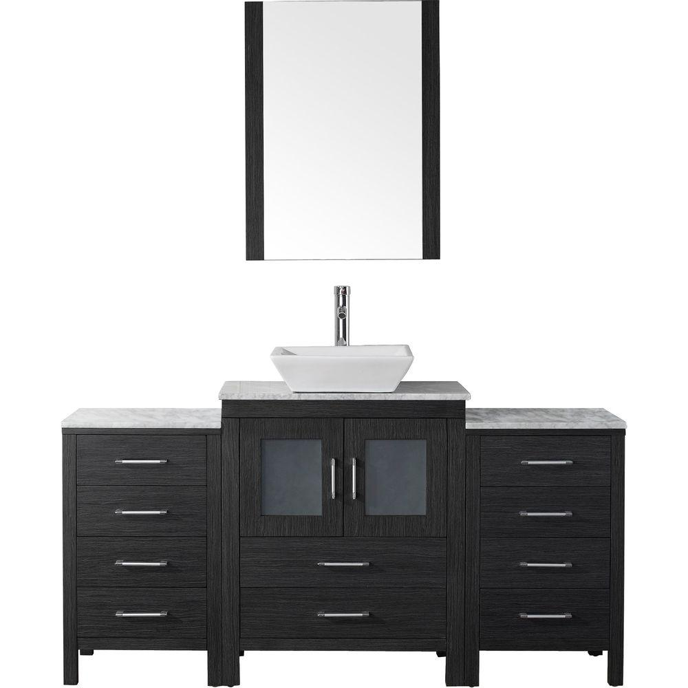 Virtu Usa Dior 65 In W Bath Vanity Zebra Gray With Marble Top