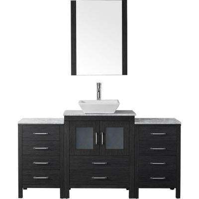 Dior 64 in. W x 18.3 in. D Vanity in Zebra Grey with Marble Vanity Top in Carrara White with White Basin and Mirror