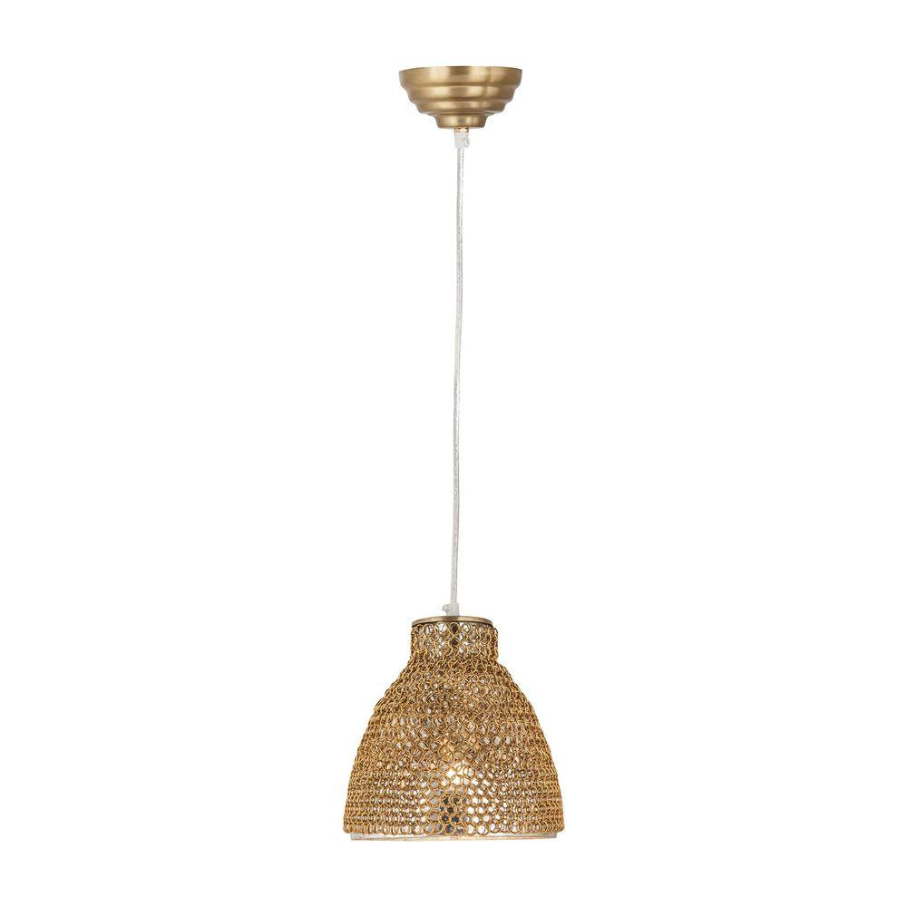Titan Lighting Maille 1-Light Gold Glass and Iron Pendant