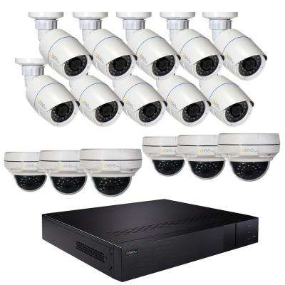 16-Channel 4K 3TB NVR Video Surveillance System with 10-Fixed Lens 4MP Bullet Cameras and 6-Fixed Lens 4MP Dome Cameras