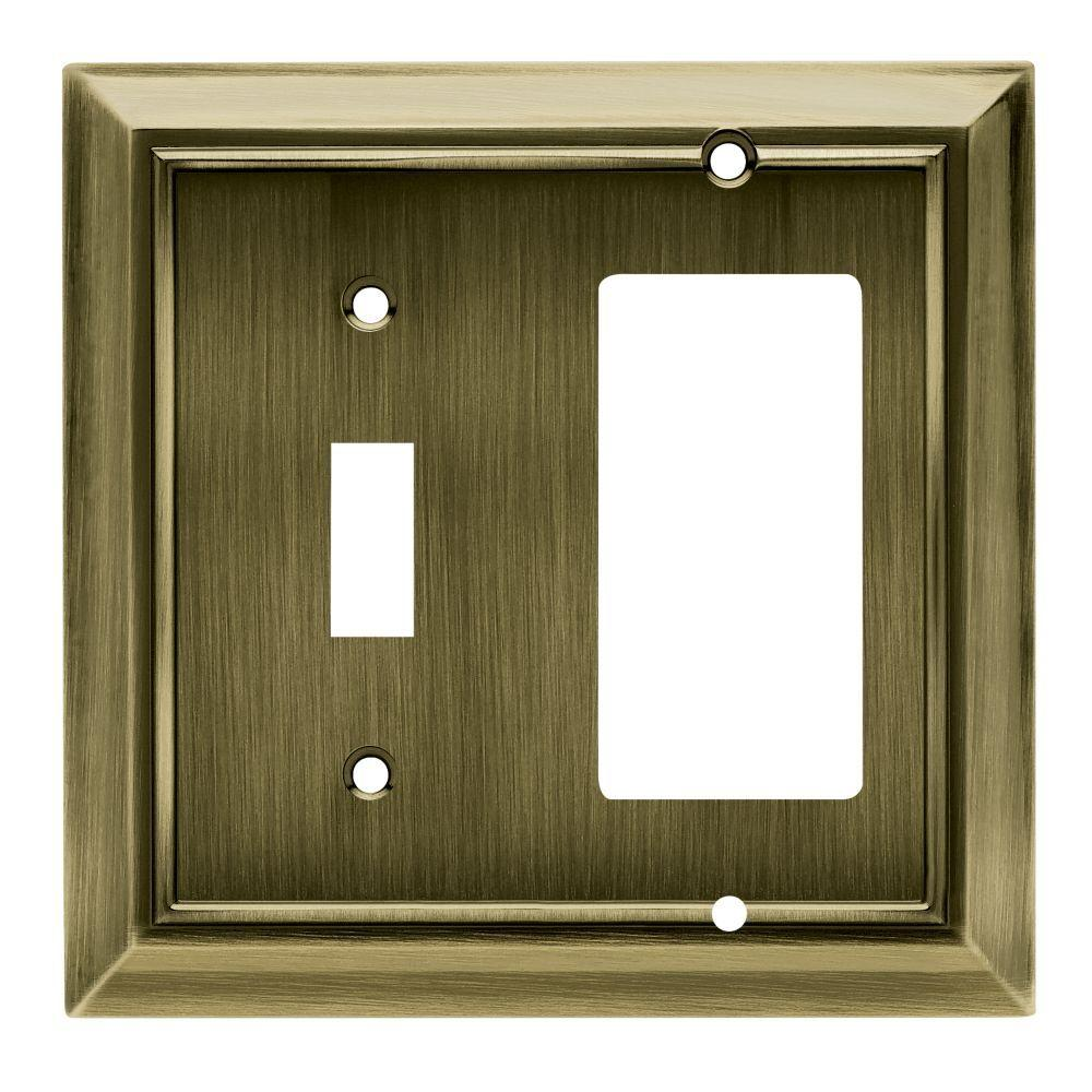 Hampton Bay Architectural Decorative Switch and Rocker Switch Plate, Antique Brass
