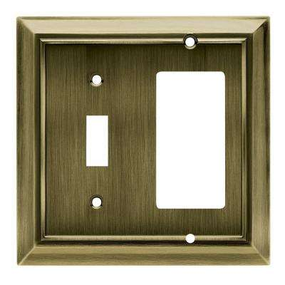 Architectural Decorative Switch and Rocker Switch Plate, Antique Brass