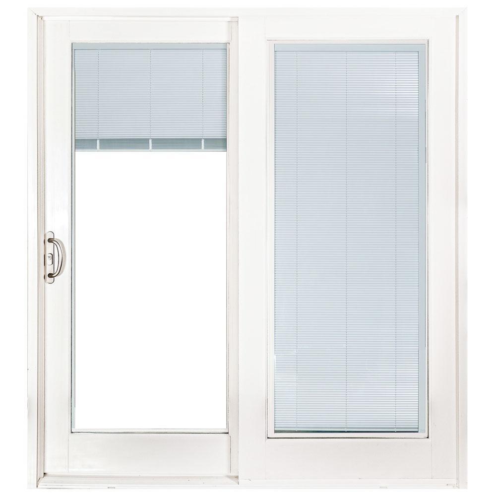 72 in. x 80 in. Woodgrain Interior Composite Prehung Left-Hand DP50 Sliding Patio Door with Blinds Between Glass