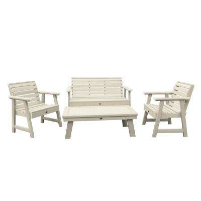 Weatherly Whitewash 4-Piece Recycled Plastic Outdoor Conversation Set