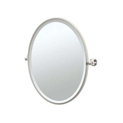 Laurel Avenue 24 in. x 28 in. Framed Single Oval Mirror in Polished Nickel