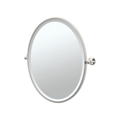 Laurel Avenue 21 in. W x 28 in. H Framed Single Oval Mirror in Polished Nickel