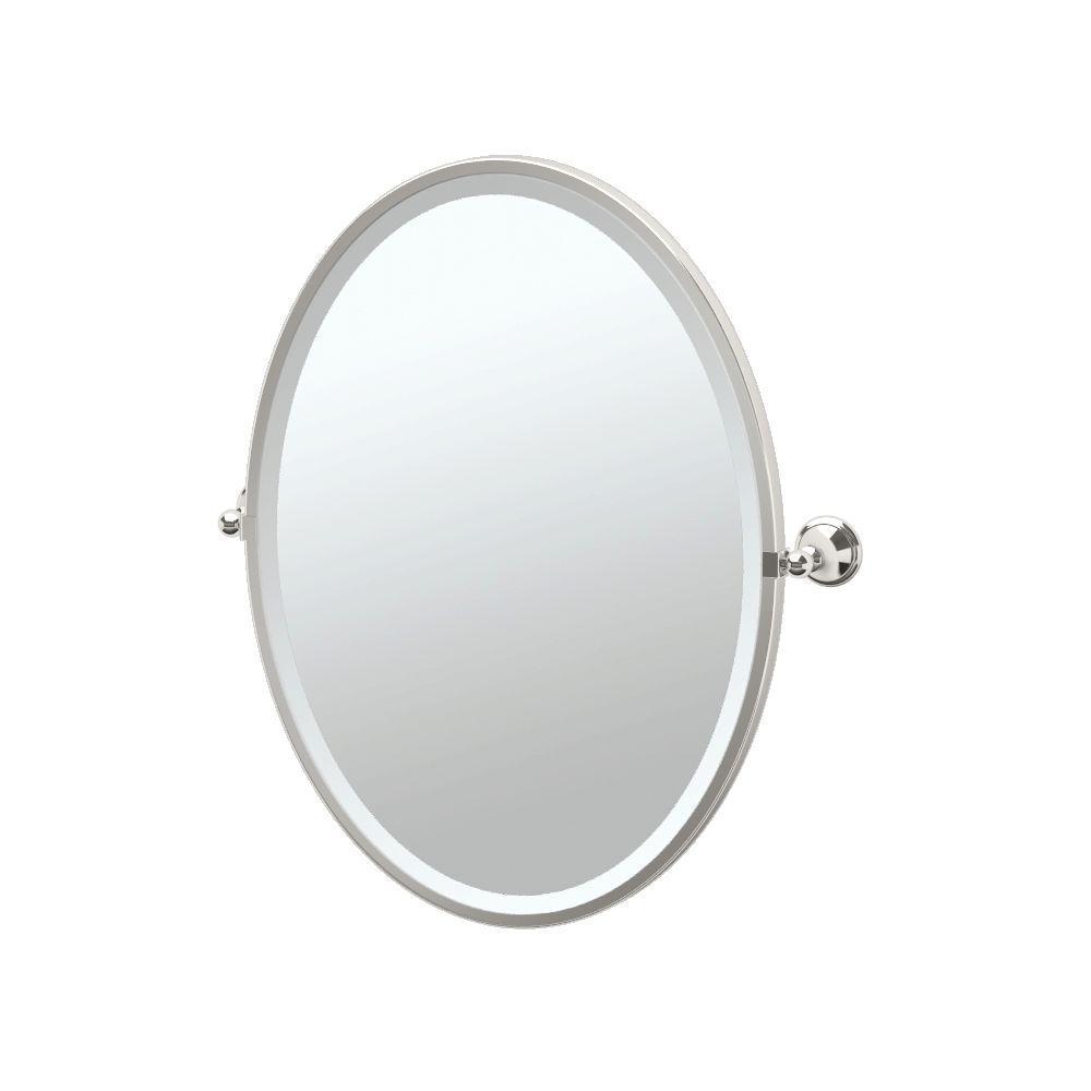 Laurel Avenue 24 in. x 28 in. Framed Single Oval Mirror in Polished Nickel