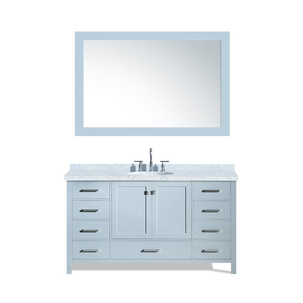 Ariel Cambridge 61 in. Bath Vanity in Grey with Marble Vanity Top in Carrara White with White Basin and Mirror
