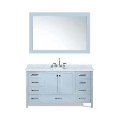 Cambridge 61 in. Bath Vanity in Grey with Marble Vanity Top in Carrara White with White Basin and Mirror