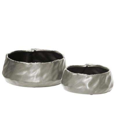 Silver Matte Finish Ceramic Decorative Vase (Set of 2)