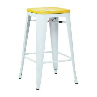 26 in. Bristow White Metal Bar Stool with Vintage Wood Seat