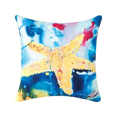 Blue Starfish Indoor/Outdoor 18 in. x 18 in. Standard Throw Pillow