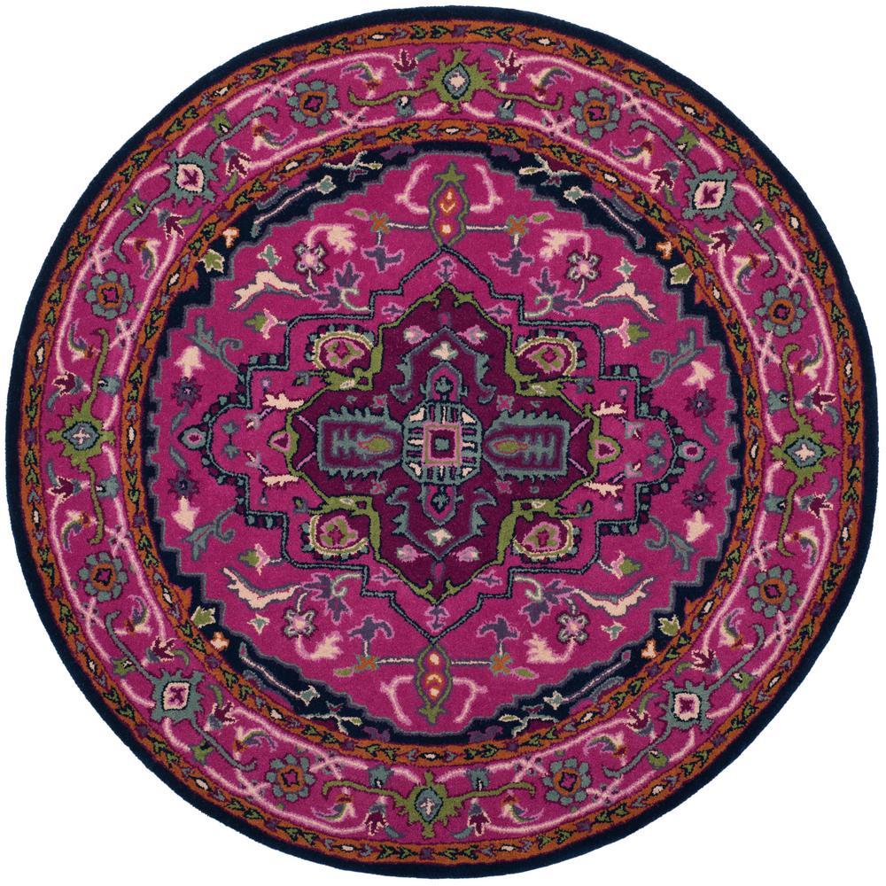 safavieh bellagio pink navy 5 ft x 5 ft round area rug blg541c 5r the home depot. Black Bedroom Furniture Sets. Home Design Ideas