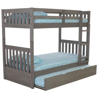 Twin over Twin Solid in Charcoal Wood Bunk Bed                  Finish with Pull Out Twin Trundle