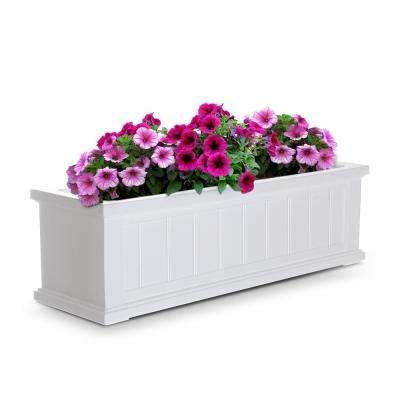 Self-Watering 11 in. x 36 in. White Cape Cod Window Box