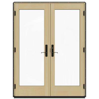 60 in. x 80 in. W-4500 Chestnut Bronze Prehung Left-Hand Inswing French Patio Door with Contemporary Frame