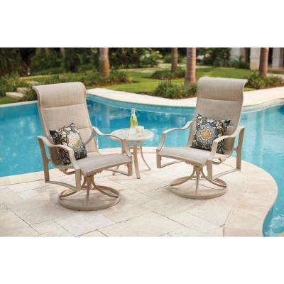Statesville Shell 3-Piece Aluminum Padded Sling Outdoor Chat Set