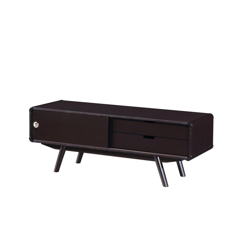 Wenge Stylish Wood Veneer 55 in. TV Stand with Door and Storage