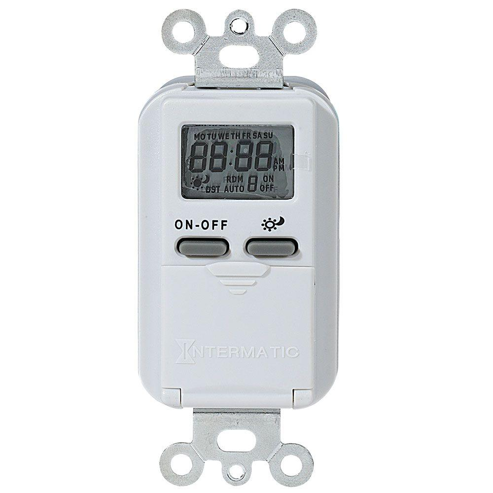 15 Amp 7-Day Indoor Astronomic Digital In-Wall Timer, White