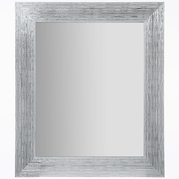 Small Rectangle White And Silver Contemporary Mirror (16 in. H x 20 in. W)