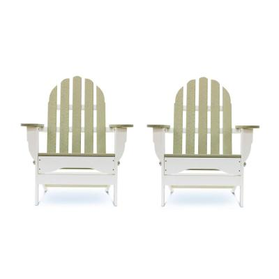Icon White and Birchwood Recycled Plastic Folding Adirondack Chair (2-Pack)