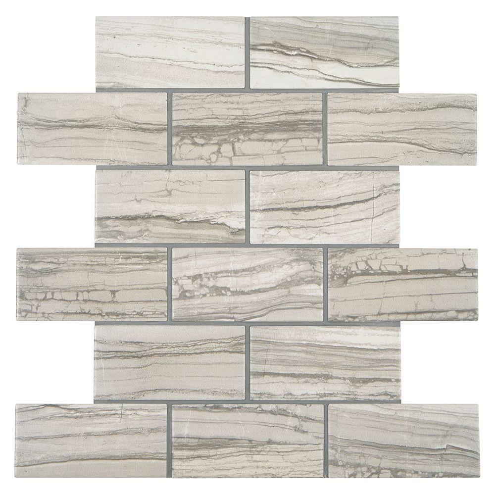 VitaElegante Grigio 12 in. x 12 in. x 6 mm Ceramic Brick-Joint Mosaic Floor and Wall Tile (0.84 sq. ft. / piece)
