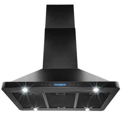 36 in. Kitchen Island Mount Range Hood in Stainless Steel Black Finish with Remote and Dual Side Touch Control
