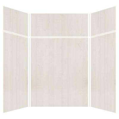 Expressions 60 in. x 60 in. x 96 in. 4-Piece Easy Up Adhesive Alcove Shower Wall Surround in Bleached Oak
