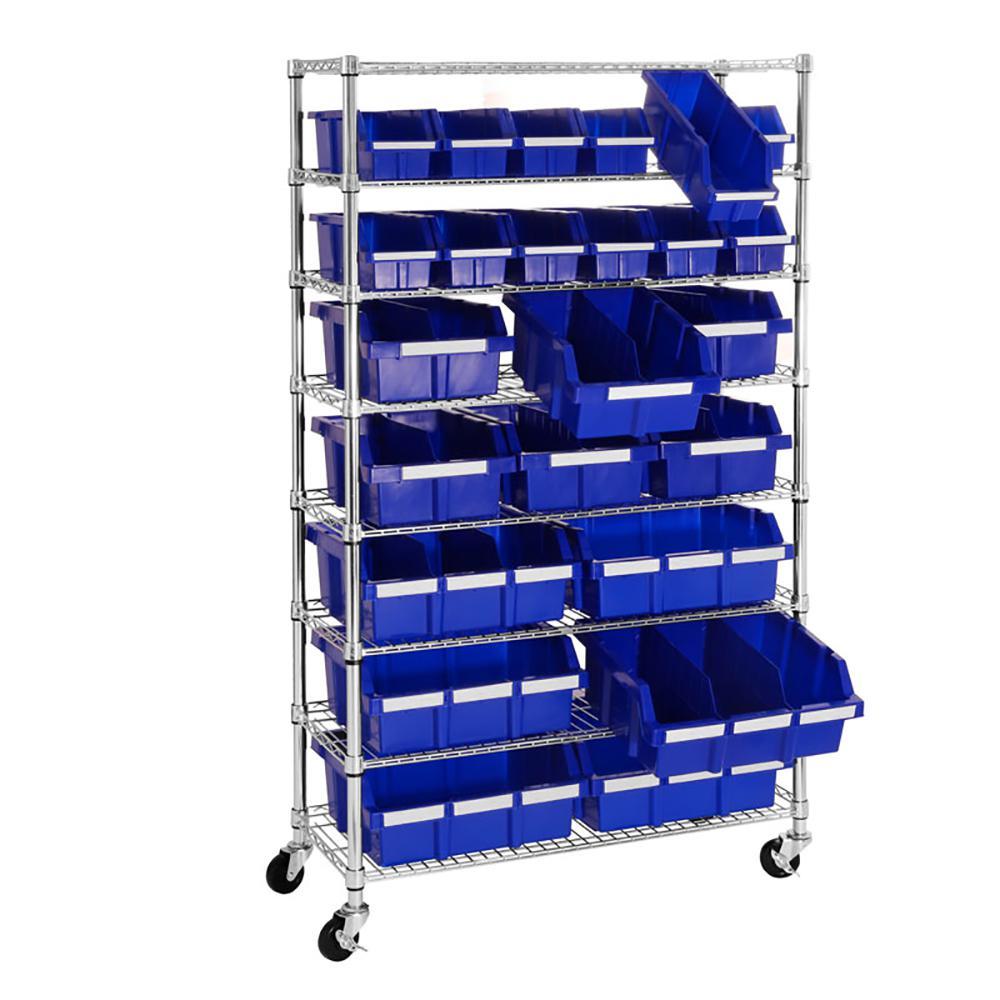 Blue Commercial 8-Tier NSF 24-Bin Rack Storage System