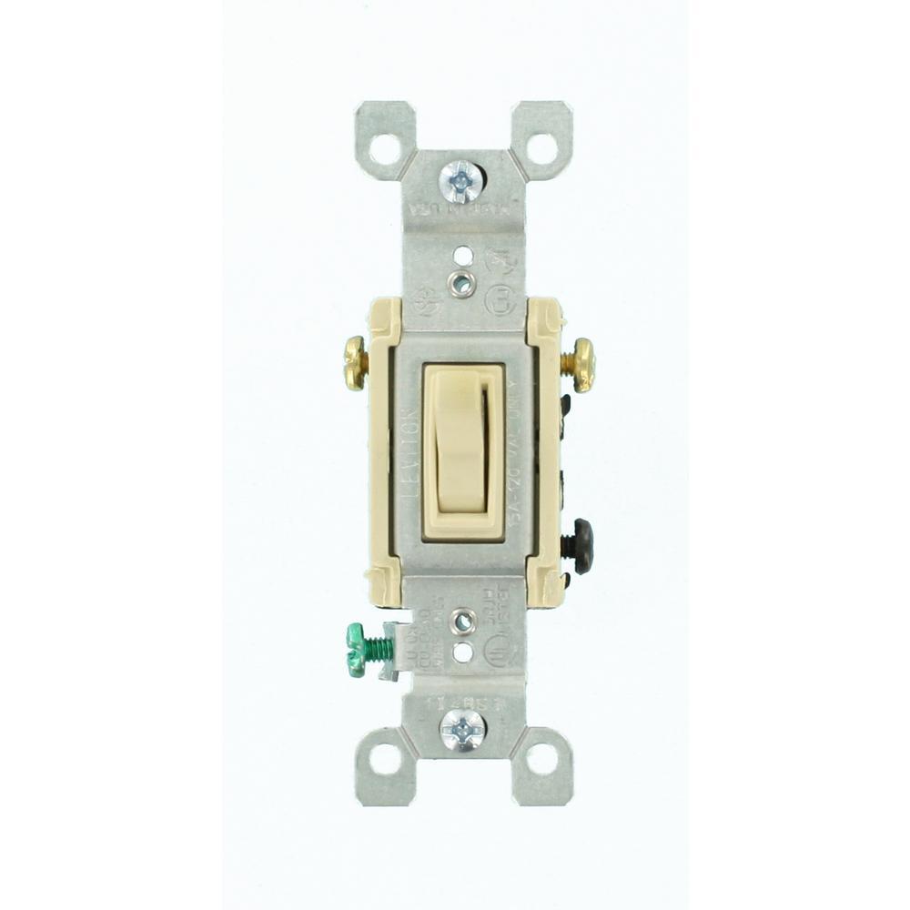 Leviton 15 amp 3 way toggle switch ivory r57 01453 02i for 3 com switch