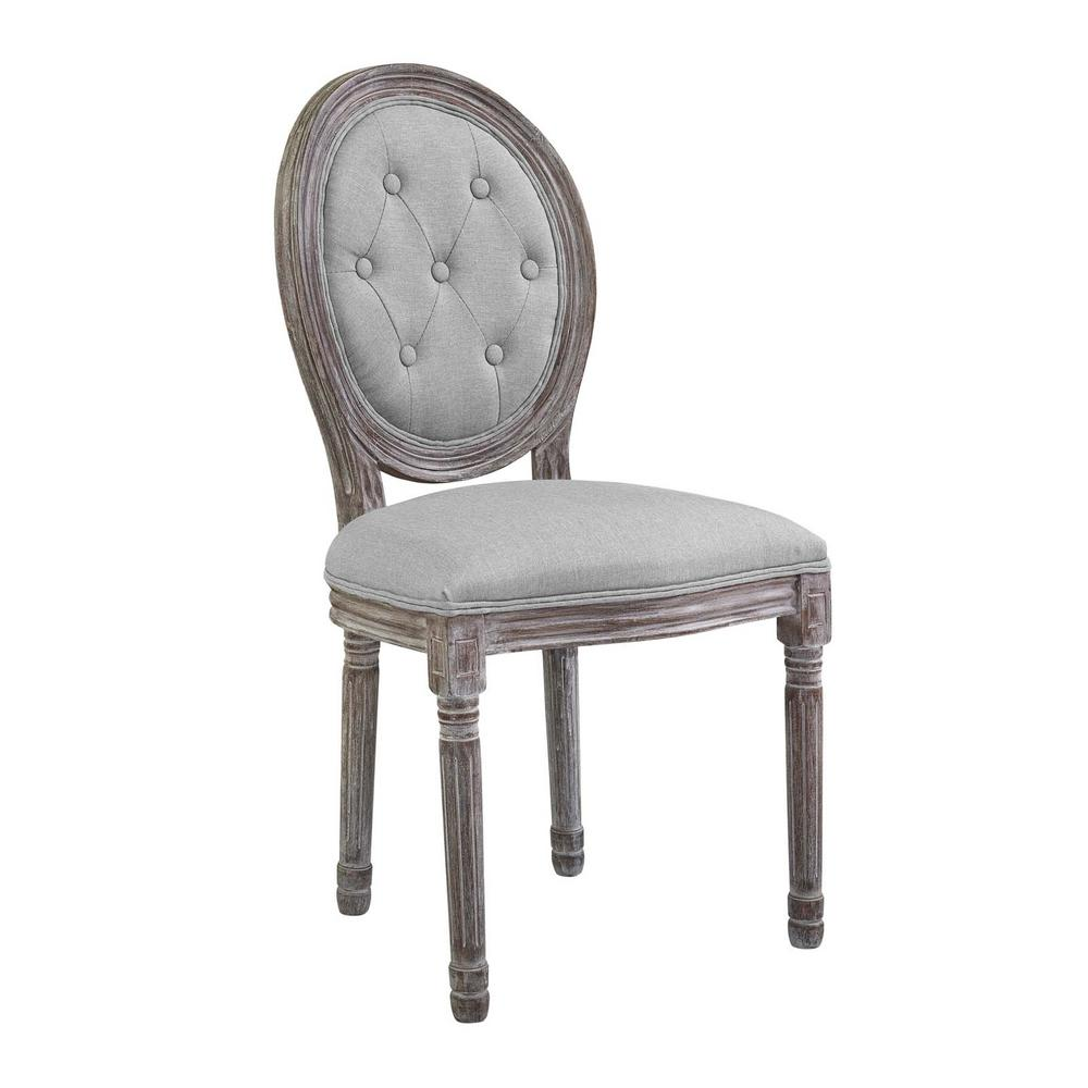 Arise Vintage Light Gray French Upholstered Fabric Dining Side Chair