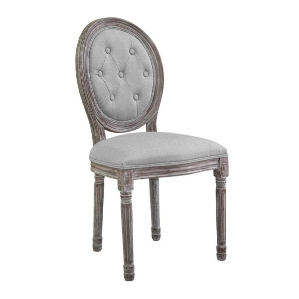 MODWAY Arise Vintage Light Gray French Upholstered Fabric Dining Side Chair