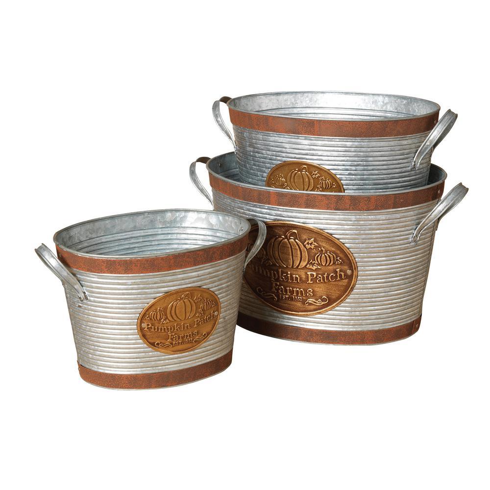 9.75 in. Pumpkin Patch Farms Buckets (Set of 3)
