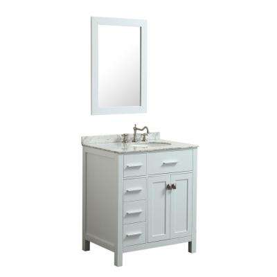 Bosconi 30 in. W Single Bath Vanity in White with White Carrara Marble Vanity Top in White with White Basin and Mirror
