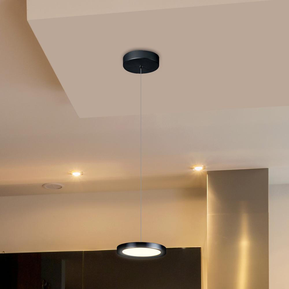 Salm 12-Watt Black Integrated LED Pendant Lighting Fixture